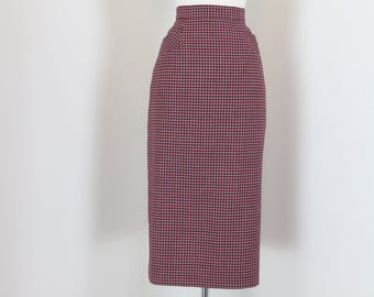 """1950s 60s Skirt - Plaid Midi Pencil Skirt - Red White Blue Check - Pockets - Mad Men Style - Vintage - Size Extra Small - Small 26"""" Waist"""