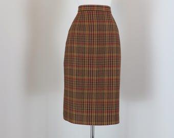 "80s Does 1960s Skirt - Plaid Midi Pencil Skirt - Designer Emilio Bravini - Brown Red Gold - Sexy Mad Men Style - Size Medium 30"" Waist"