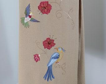 1990s Vintage Embroidered Wrap Dress - Floral Bird Embellished - XS/Small - Sleeveless - Wrap Belt Closure - Midi - Boho Hippie