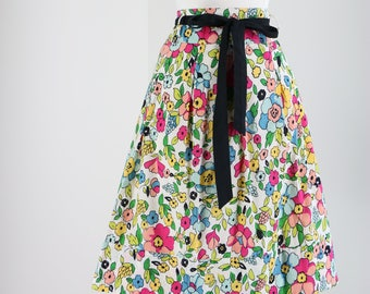 """90s Does 1950s Dress - Vintage Floral Full Flare Skirt - M/L 33"""" Waist - Knee Length - Fabric Belt - Summer Cotton - Colourful Bright"""
