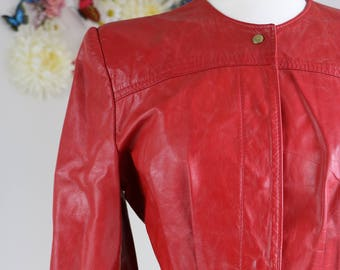 1980s Leather Jacket - Red - Collarless - Fitted Leather Vintage Jacket - Fall - Over-the-Hips - Bold Red Excellent Condition - Small/Medium
