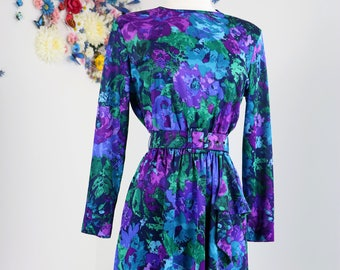 1980s Dress - Vintage Floral Faux Wrap Dress - M/L - Long Sleeve - Ruffle Detail - Belted - Blue Green Purple - Vibrant Day Dress