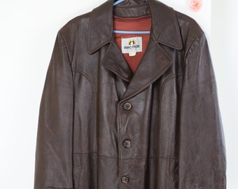 6986058ddb3d 1970s Vintage Brown Leather Jacket - Leather Coat - Large XL Mens 46 - Mid  Length Fall Winter Coat - Classic Leather Jacket - Retro Hipster