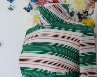 70s Vintage Striped TurtleNeck White Green Blue Womens Long Sleeve Silky Retro Medium Large Zip Up Back