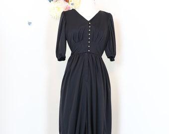 396341538197 1960s 70s Vintage Jumpsuit - Romper - Black - Culottes - Harem Pants -  XS Small - Rare - 3 4 Sleeve - Handmade