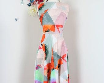 1990s Boho Midi Dress - Abstract Floral Poppy Print Vintage Dress - Pastel - Sleeveless - S/M - Full Flare Skirt - Summer Garden Wedding