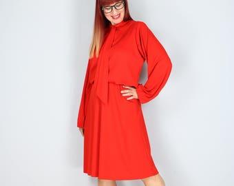 1960s Dress - Pussy Bow Midi Dress - Tomato Red - Full Skirt - Long Sleeve - Polyester - Size Medium/Large