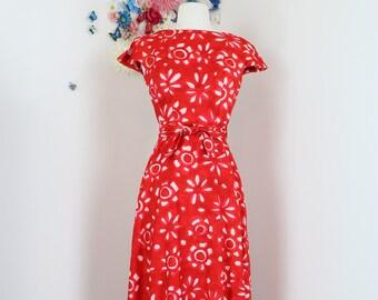 "1950s 60s Hawaiian Dress - Vintage Floral Tropical Maxi Dress - Barkcloth - XS 25""W - Summer - Vacation - Split Cap Sleeve - Ruffle Hem"