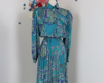 1980s Gucci Style Dress - Vintage Midi - Floral Baroque Paisley Print - Pleated Full Skirt - Sz Large - Long Sleeve - Button Up Shirt Dress