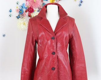 1970s 80s Vintage Red Leather Coat - M/L - Mid Length Fall Coat - Leather Trench Coat - Classic Blazer Style Leather Jacket - Retro Hipster