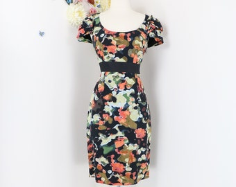 fc11597b99954 1990s Anthropologie Dress - Moulinette Soeurs Pittiore Silk Floral  Watercolor - Fitted Sheath Midi - Short Sleeve - Small Sz 4