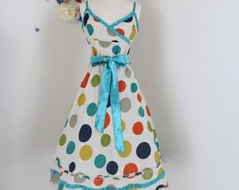 1990s Polka Dot Dress - Vintage Midi - Full Skirt - Fit And Flare - S/M - Spaghetti Strap - Sash Bow - Ruffle Trim Hem - Multicoloured