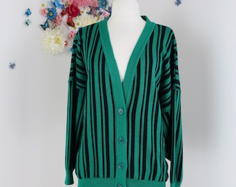 Classic 1980s Green Striped Grandpa Cardigan - Large - Navy - Green - Long Sleeve - Button Up - 80s Hipster Sweater