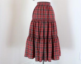 "1950s Skirt - Boho Plaid Midi - Red - Tiered - Peasant - Country - Coachella Festival - Union Label - Elastic Waist - 19""-32"" Size S/M"