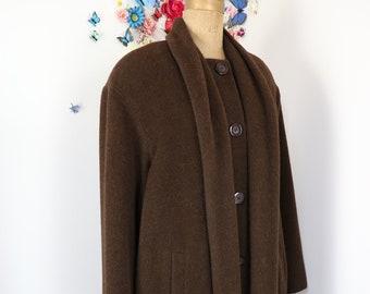 Vintage Long Wool Brown Winter Coat - IRVING SAMUEL Holt Renfrew 1980s Maxi Coat - Classic Wool Overcoat - Extra Large