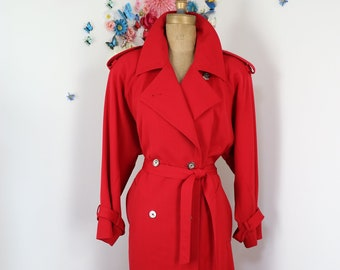 Vintage 80s Red Trench Coat by Designer IRVING SAMUEL - 1980s Maxi Coat - Bold Red Wool Overcoat - Spy Coat - L/XL