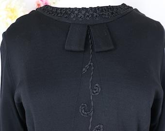 60s Black Soutache Knit Evening Dress - Vintage VENUS 1960s Evening Cocktail Party Wedding Guest Special Occasion Formal Event Dress - L/XL