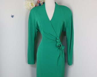 Vintage DAYMORE Couture 80s Green Evening Dress - 1980s Evening Cocktail Party Wedding Guest Special Occasion Formal Event Dress - Large