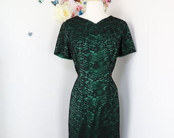 Vintage 50s Green Floral Lace Evening Dress - 1950s Evening Cocktail Party Wedding Guest Special Occasion Formal Event Dress - L/XL