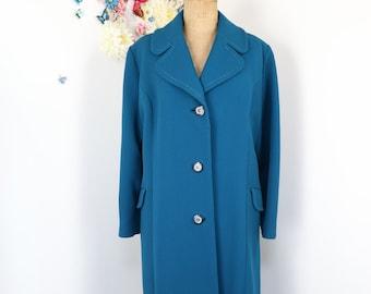 Vintage Long Wool Teal Winter Coat - 1980s Maxi Coat - Classic Wool Overcoat - L/XL