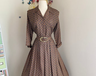 Vintage 1950s Day Dress - 50s Pleated Shirt Dress - Geometric Check Stepford Wives Dress - Pin-up Swing Lindy Hop Rockabilly - Large