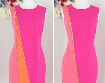 1990s Day Dress - Colour Block - Zipper Front - Calvin Klein - Med 37 B 32 W - Mod Sleeveless - Round Neck - Pink Orange - Spring Summer