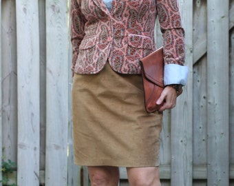 """1980s Skirt - Brown Suede Pencil Skirt - Short Leather Skirt - Classic Vintage Beige Skirt Size - Small Waist 26"""""""