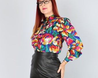 1980's Blouse - Multicoloured Abstract Print Top - Ruffle Tie Neckline - Long Sleeve - Vintage Button Up Statement Blouse - Sz Small