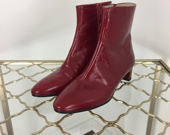 201d56d8d76 Zara Red Boots - Red Leather Booties - Side Zip Ankle Boots- Size 38 EU -  7.5 US - 1.5