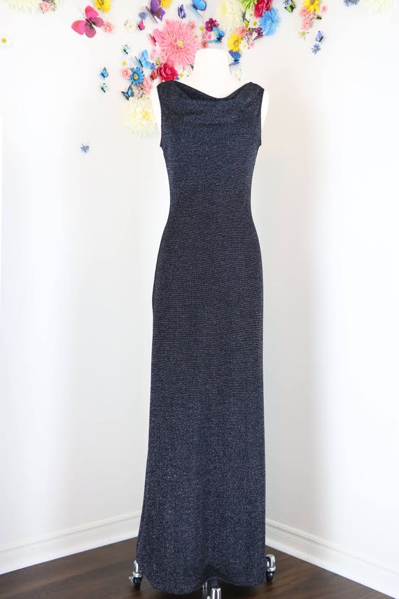 1970s Lurex Evening Maxi Dress - S/M - Vintage Cow
