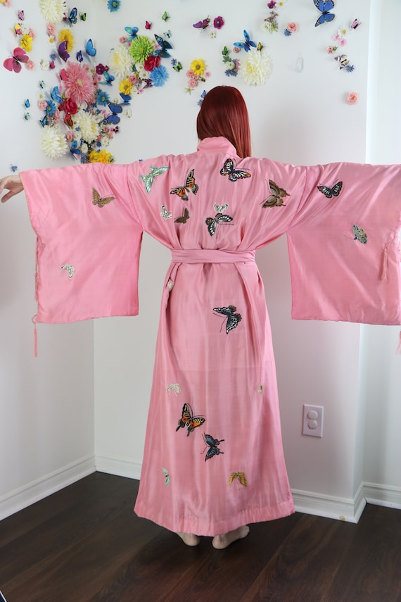 Vintage 20s Silk Butterfly Embroidered Kimono Robe
