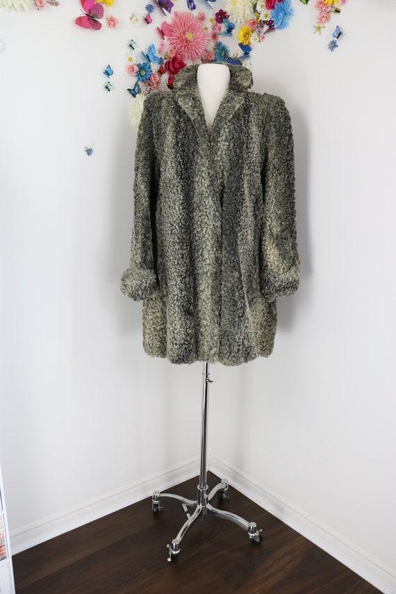 Vintage 1940s Persian Lamb Swing Coat - Grey Fur T