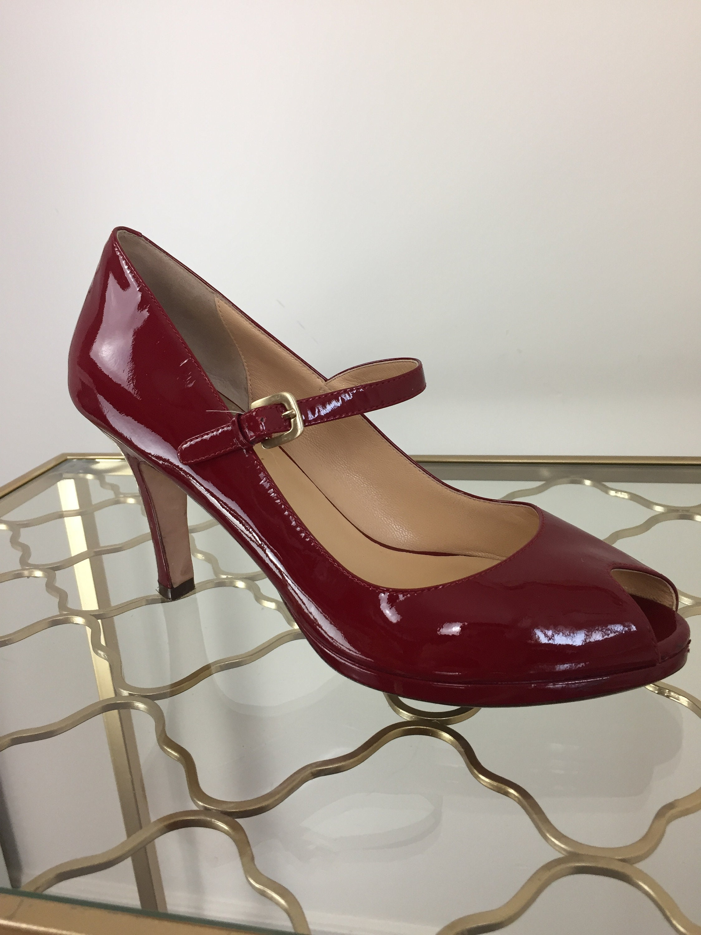 8c22e832c Vintage 1990s Red Mary Jane Pumps Cole Haan Peep Toe
