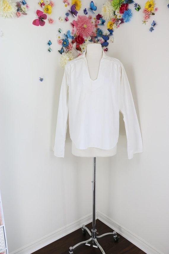 Vintage EMMANUELLE KHAHN White Cotton Peasant Blou