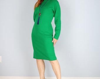 1970's Dress - Sheath Midi Dress - Green Knit - Long Sleeve - Polo Neck - Classic Chic Vintage Dress - Body Skimming - Winter Dress - Medium