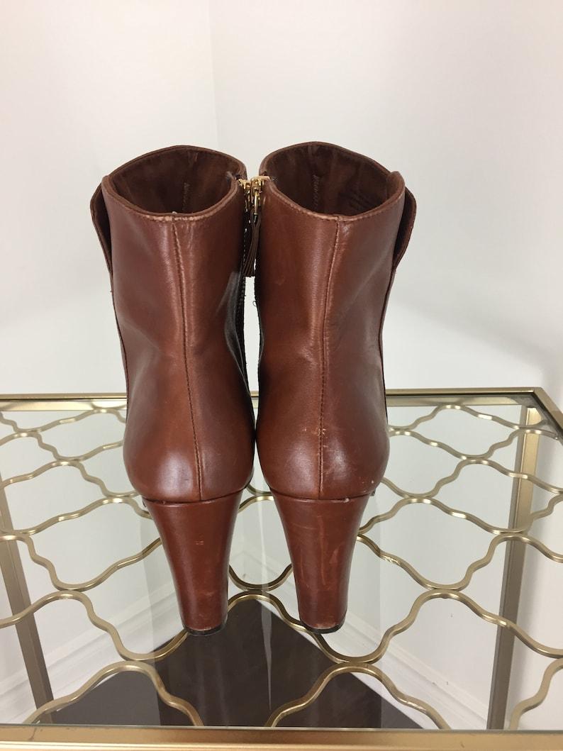 .5 Platform Block Heel 1990s Brown Leather Platform Booties Size 9 US 3.5 High Heel NINE WEST Boho Boots