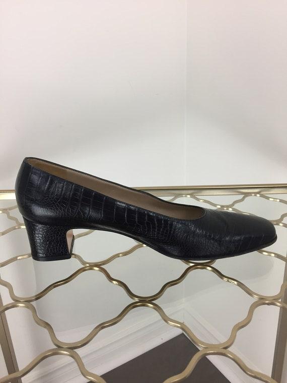 """Vintage Crocodile Salvatore Ferragamo pompes - crocodile Crocodile Vintage noir Vintage Davallia pompes - 8,5-9 US - 1,75"""" talon - Designer - classique élégant 3ddcd2"""