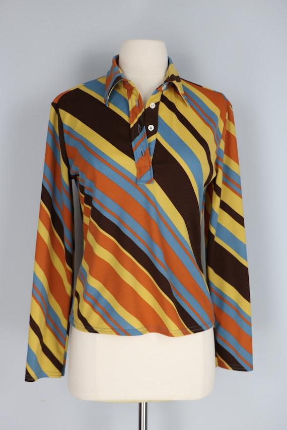 Vintage Geometric Stripe Blouse Vintage White Top 70\u2019s White And Blue Vintage Shirt