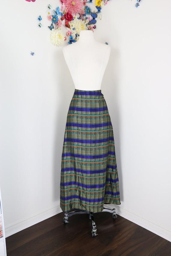 Vintage Plaid Maxi Skirt - Metallic Evening Skirt