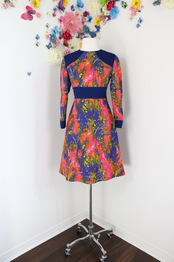 Vintage 70s Psychedelic Mini Scooter Dress - LONG