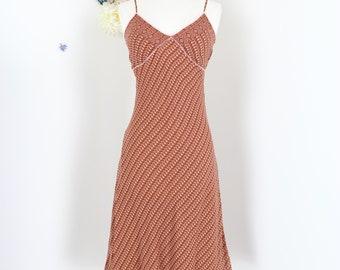 1990s Boho Slip Dress - Vintage Silk Slip Dress By Guess - Small - Adjustable Spaghetti Bra Strap - Ruffle Trim Hem - Summer Spring