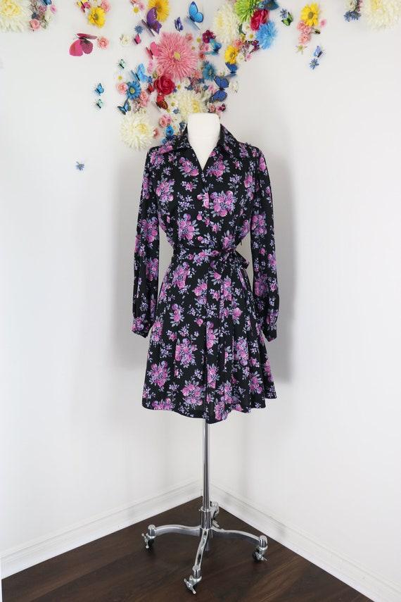 1960s 70s Mini Skater Dress - Medium/Large - Vinta