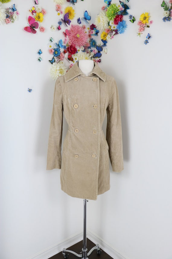 Vintage 90s Khaki Corduroy Double Breasted Coat -