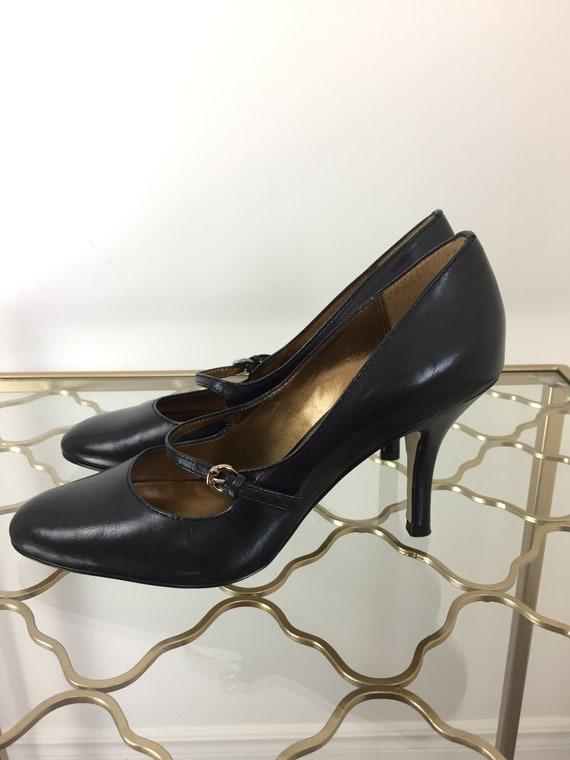 106cb4ff741dc Vintage 1990s Black Mary Jane Pumps - Anne Klein - Designer High Heel -  Size 7.5 US - 3.25
