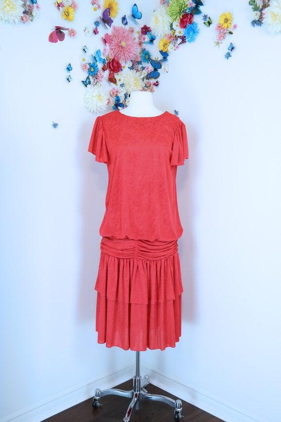 Vintage 1980s does 1920s Red Floral Flapper Dress
