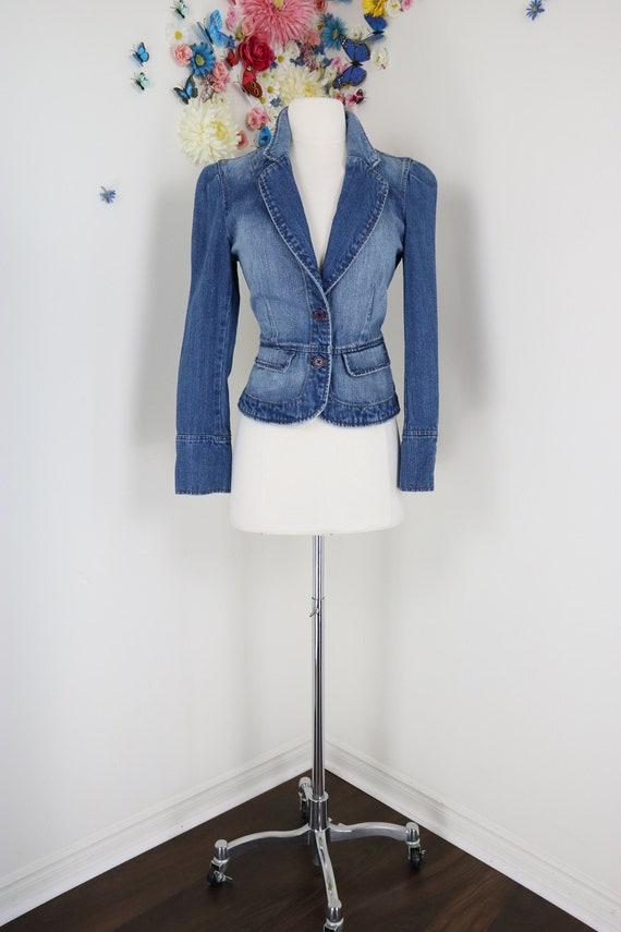 Vintage 1990s Denim Fitted Blazer XS/S - Victorian