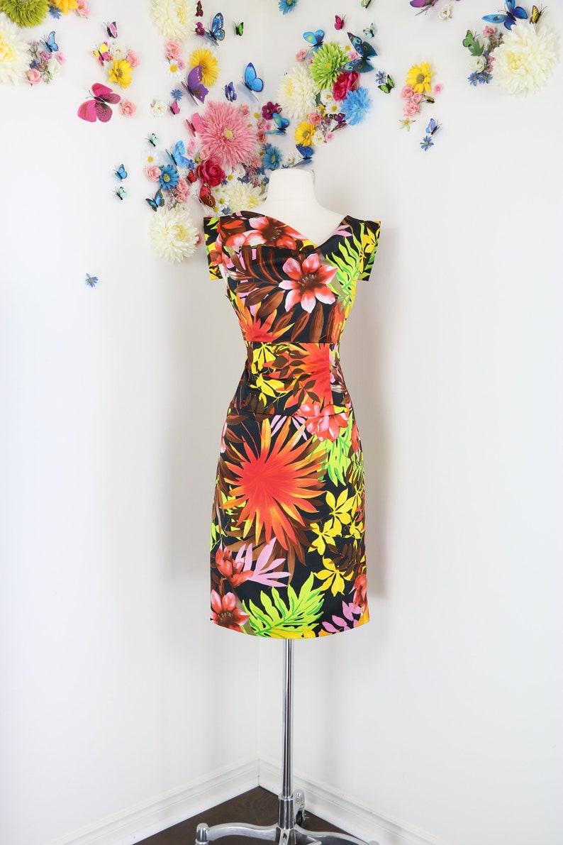 44f5b75a4d7 1990s Vintage Joseph Ribkoff Dress Floral Asymmetrical