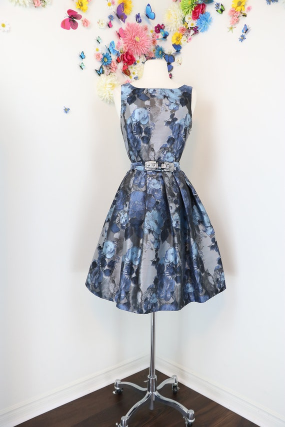 28feeb04118c 1950s Style Dress Eva Franco Floral Damask Jacquard Swing