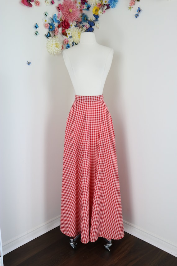 Vintage 1970s Gingham Plaid Maxi Skirt - Red White