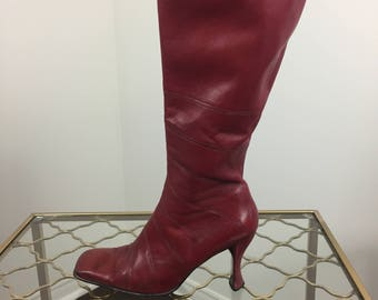 """1990s Vintage Red Leather Boots - Tall Super Hero Badass Red Leather Boots - 3.5"""" Heel - Square Toe Box - Size 8.5 US 39 EU"""